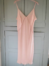 "NEW M&S Vintage Style ROSIE PINK Deep V Neck Full Long Slip 23"" UK 16 EUR 44"