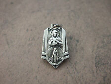 Vintage Catholic Medal SCAPULAR  Sacred Heart Jesus & Mary 1950's silver finish