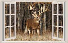 Deer & Forest 3D Window View Color Wall Sticker Wall Mural Decal