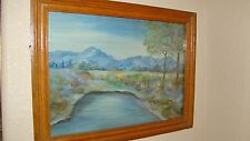 Vintage Landscape Oil Painting In Handmade Oak Frame With Glass