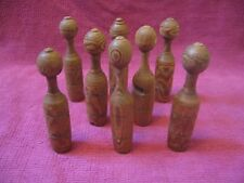 8 Antique / Vintage Turned Wood Wooden Toy Skittles