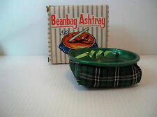 Vintage Green Plaid Bean Bag Car/Table Ashtray NOS with Original Box