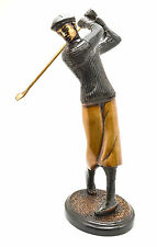 Golfer Shot Figurine Brass Statue Gorgeous Black Ornament For Golf Lovers