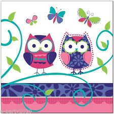 PATCHWORK OWL LARGE NAPKINS (16) ~ Birthday Party Supplies Dinner Luncheon Cute