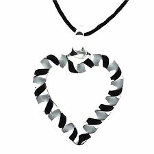 "The Olivia Collection Black & White Glass Cut Heart Pendant On 18"" String Chain"