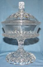 Antique EAPG Bryce Higbee ETHOL or CUT LOG Glass Small Covered Compote Candy