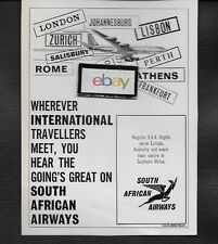 SOUTH AFRICAN AIRWAYS B707 WHEREVER INTERNATIONAL TRAVELERS MEET GOING GREAT AD