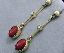 CE482- Elegant GENUINE  9ct SOLIDYellow Gold NATURAL Coral & Pearl Earrings Post