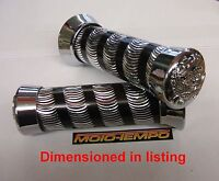"""Universal Motorcycle 22mm 7/8"""" Custom Ribbed Grips Chrome Machined Alloy"""