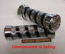 "Universal Motorcycle 22mm 7/8"" Custom Ribbed Grips Chrome Machined Alloy"