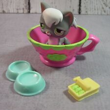 Littlest Pet Shop lot gray white longhair cat green eyes no#  accessories