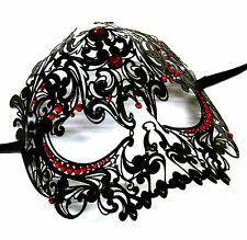 Black Venetian Filigree Skull Masquerade Mask Halloween Masked Ball w/Red Stones