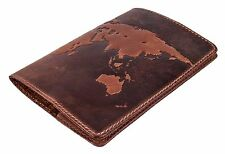 "Premium leather passport cover ""World Map 3D Print"" International  133*192 mm"