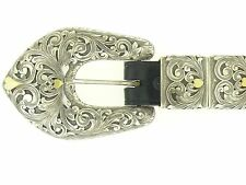 Clint Orms Handmade Belt Buckle Sterling Silver & Gold Hearts HUGE!