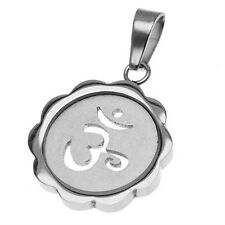 Ohm Om Aum Hindu Flower Shaped Stainless Steel Pendant Necklace