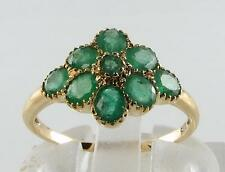 LUSH 9K 9CT GOLD ALL COLOMBIAN EMERALD FLOWER RING FREE RESIZE