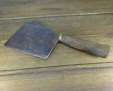 INTERESTING ANTIQUE LATE 1800's WOODEN HANDEL MEAT CLEAVER BUTCHERS KNIFE TOOL