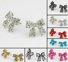 Resin bow Rhinestone  C/R/B/P/G/black stud earrings