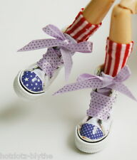 Custom Shoes w/stars & stripes For Blythe/Pullip/Monster High/Lalaloopsy SN230