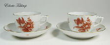 Herend Chinese Bouquet Rust Demitasse Cups and Saucers
