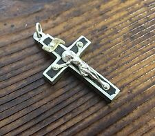 Vintage Ebony & Nickel French Small Pectoral Crucifix Cross Religious Rosary