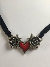 RED HEART WITH SILVER ROSES ON VELVET CHOKER GOTHIC PUNK ALCHEMY BIRTHDAY GIFT