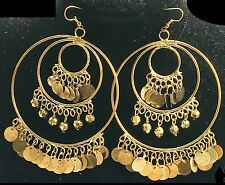 BohoCoho Quirky Boho Gypsy Bellydancer style antique gold huge hoop earrings