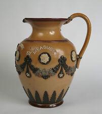 Doulton Lambeth stoneware 'Bread at Pleasure Drink by Measure' jug c1885