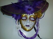 Masquerade Mask with Hat and Feathers (Purple/Gold), Costume, Halloween