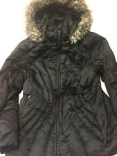 A.N.A. Black Down Parka Coat Jacket Hood Faux Fur Womens Size Medium