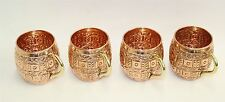 NEW Set Of 4 Hammered Embossed Solid Copper 16 Fl Oz Mugs Cups Gold Handles