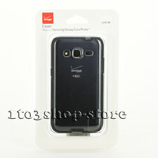 Verizon High Gloss Hard Case Cover for Samsung Galaxy Core Prime Black/Clear NEW