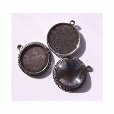 Pendant Tray Blank - Antique Silver - Round - Beaded -  Fits 25mm (Qty: 10)