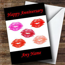 Lots Of Lipstick Kisses Personalised Anniversary Greetings Card