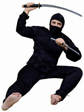 DELUXE BLACK ASIAN NINJA ADULT STANDARD HALLOWEEN COSTUME HOOD,SHIRT,PANTS,SASH