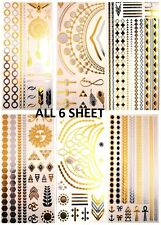 6 Sheet Temporary Metallic Tattoo Silver Gold Black Flash Inspired Body Art UK