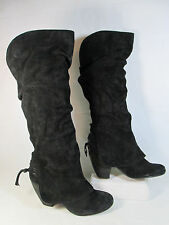 Naughty Monkey FEMME FATALE Suede Tall Slouch Fashion Boots Black Sz 6-M