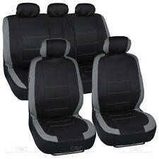 Black and Gray Cloth Car Seat Covers Full Interior Set for Auto