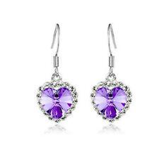 Hot Fashion Elegant purple Crystal Rhinestone Heart Earrings Lady Silver Hooks