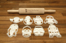 Star Wars Cookie Cutters x8 and a Laser Engraved Star Wars Rolling Pin