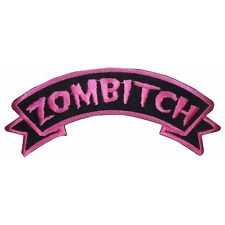 """Zombitch"" Zombie Bitch Hot Pink Kreepsville Embroidered Iron On Applique Patch"