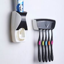 Automatic Hands Free Toothpaste Dispenser +5 Toothbrush Holder Wall Mount Rack
