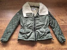 Ladies Superdry Khaki Bomber Jacket Size Large With Cream Fleece Collar