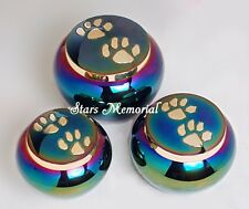 Pet Cremation Urn,Odyssey Rainbow with Golden Paw Pet Urn~Small ~~Free Shipping