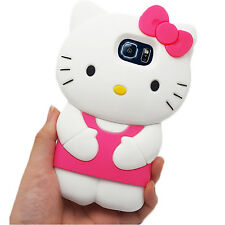 3D Pink & White Hello Kitty Case for Samsung Galaxy S6 Protector Silicone Cover