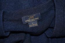 BROOKS BROTHERS Dark Blue 100% Pure Cashmere V-Neck Raglan Sweater Men's L
