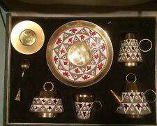 Vintage 1960' Russian Silver 916 Soviet Gilt Enamel Tea Set Original Box 954 Gr