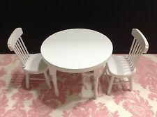 Dollhouse Miniature Kitchen Furniture Round White Wood Dining Table 2 Chair 1:12