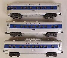 LIONEL SET OF (3) ILLUMINATED SANTA FE BLUE STRIPE PASSENGER CARS-VG+ ORIG!