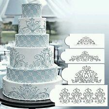 New 4pcs Flower Scroll Wedding Cake Border stencil Fondant sugarcraft Airbrush
